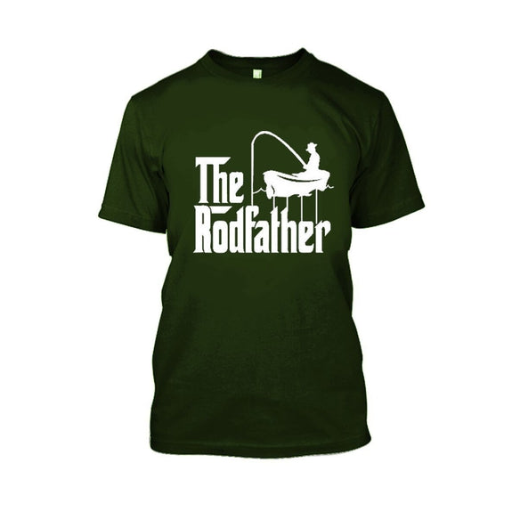 Adult Rodfather Funny Fishing Father/Grandfather T-Shirt - 8 Color Options-Military Green-S-Daily Steals
