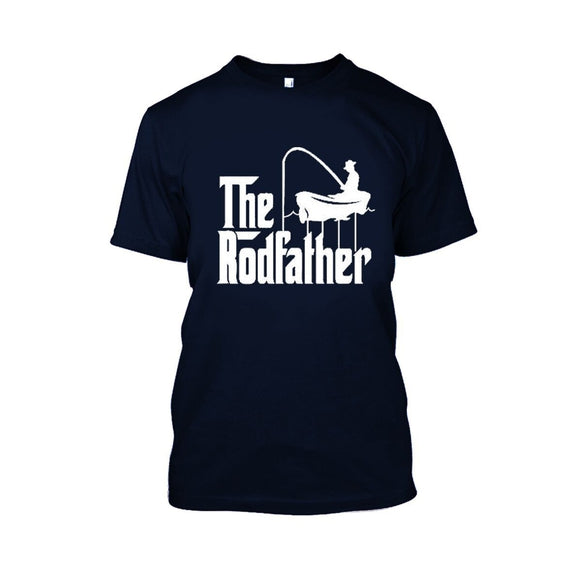 Adult Rodfather Funny Fishing Father/Grandfather T-Shirt - 8 Color Options-Navy Blue-S-Daily Steals
