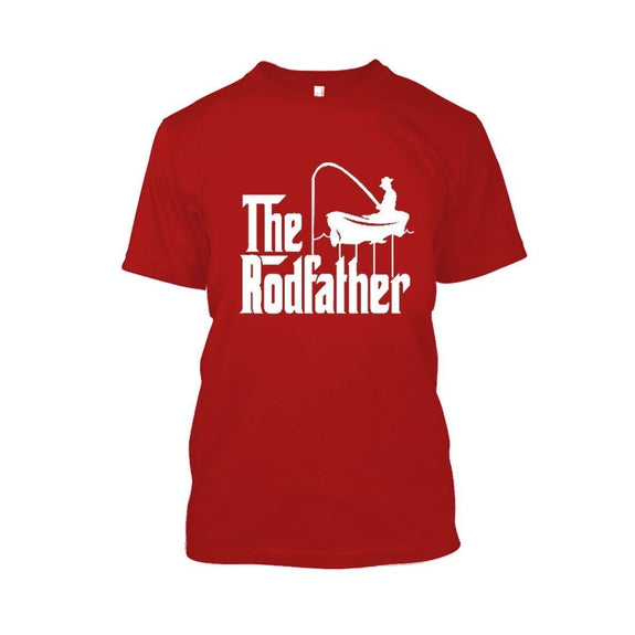 Adult Rodfather Funny Fishing Father/Grandfather T-Shirt - 8 Color Options-Red-S-Daily Steals