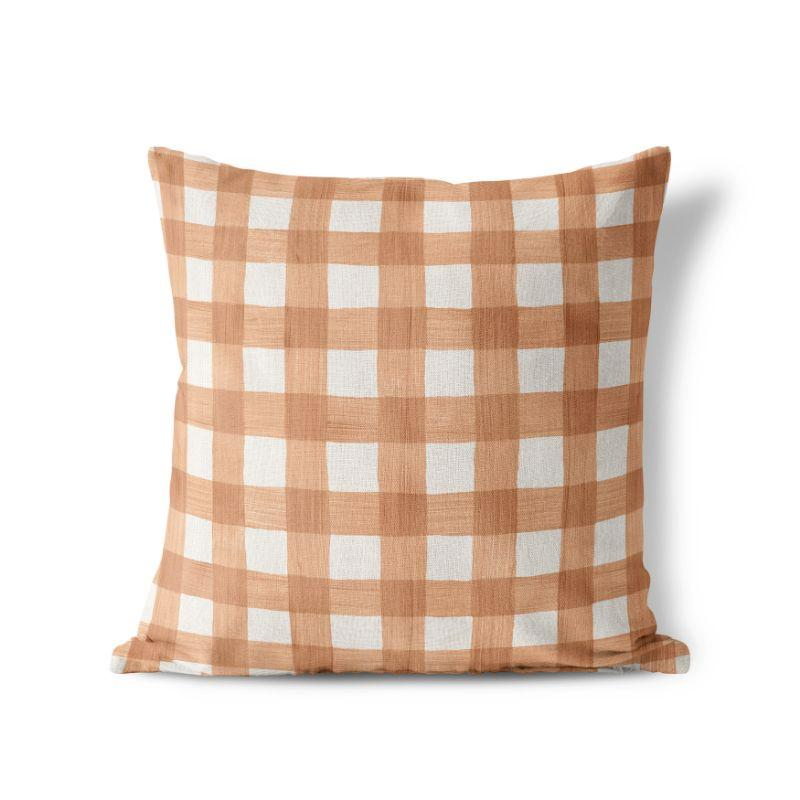 "Rose Gold Plaid - Square Pillow Cover - 17""x17""-"