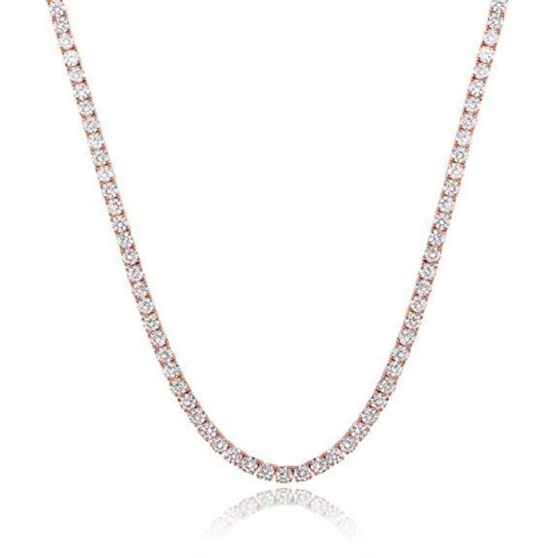 Classic 3mm Tennis Choker Necklace Made with Swarovski Crystals-Rose Gold-Daily Steals