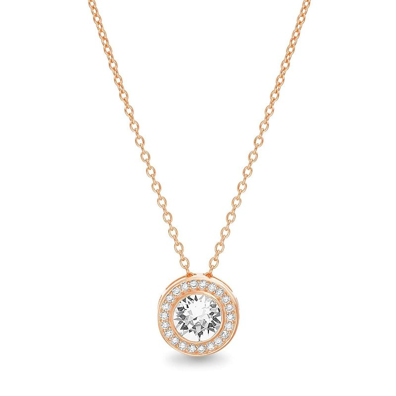 Classic Round Halo Necklace Made with Swarovski Crystals-Rose Gold-Daily Steals