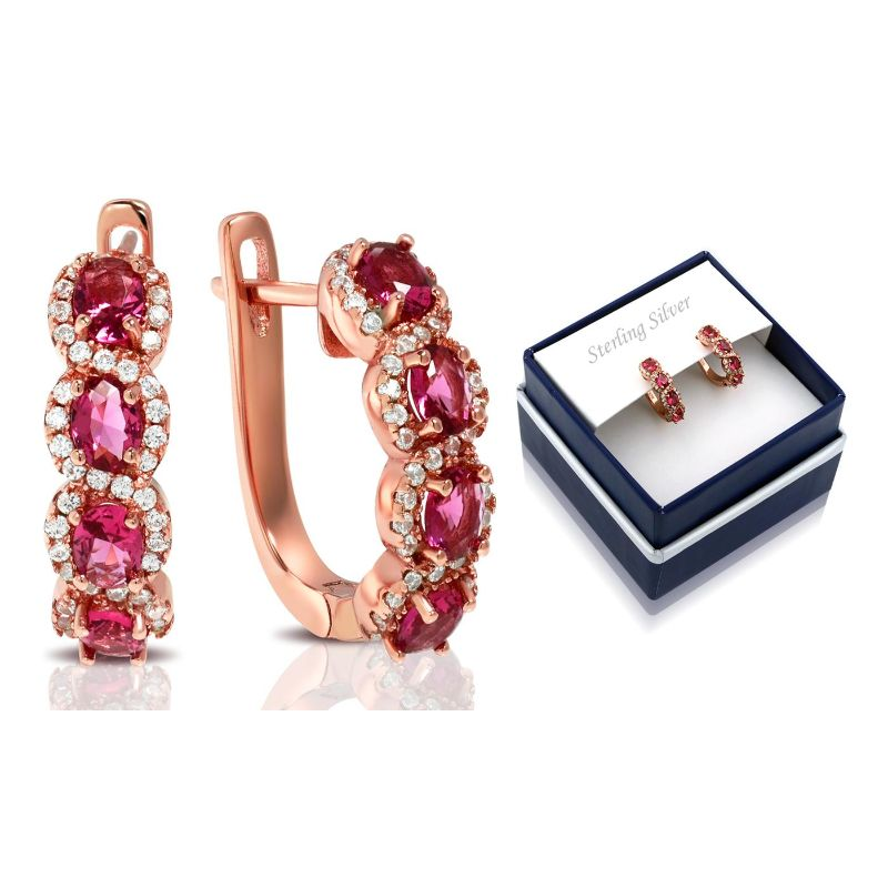 Created Ruby Gemstone Hoop Earrings in 18K Rose Gold Plate Over Silver-Daily Steals