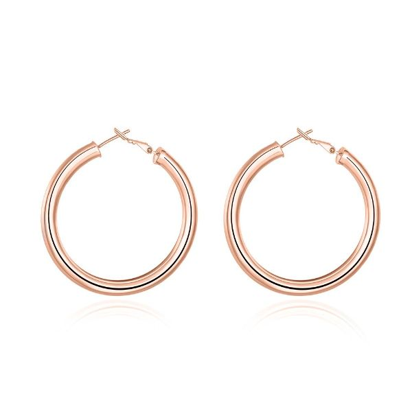 Tube Hoop Earrings-Rose Gold-Daily Steals