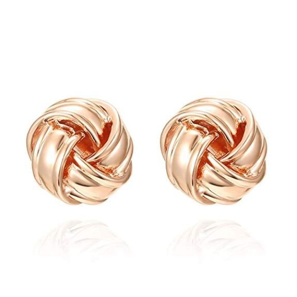 Twist Stud Earrings-Rose Gold-Daily Steals