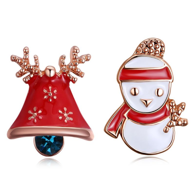 Enamel Snowman Studs in 14K Gold Plating-Rose Gold-Daily Steals