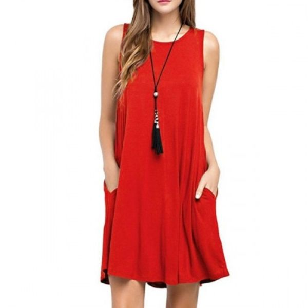 Round Neck Sleeveless Dress with Pockets-Red-small-Daily Steals