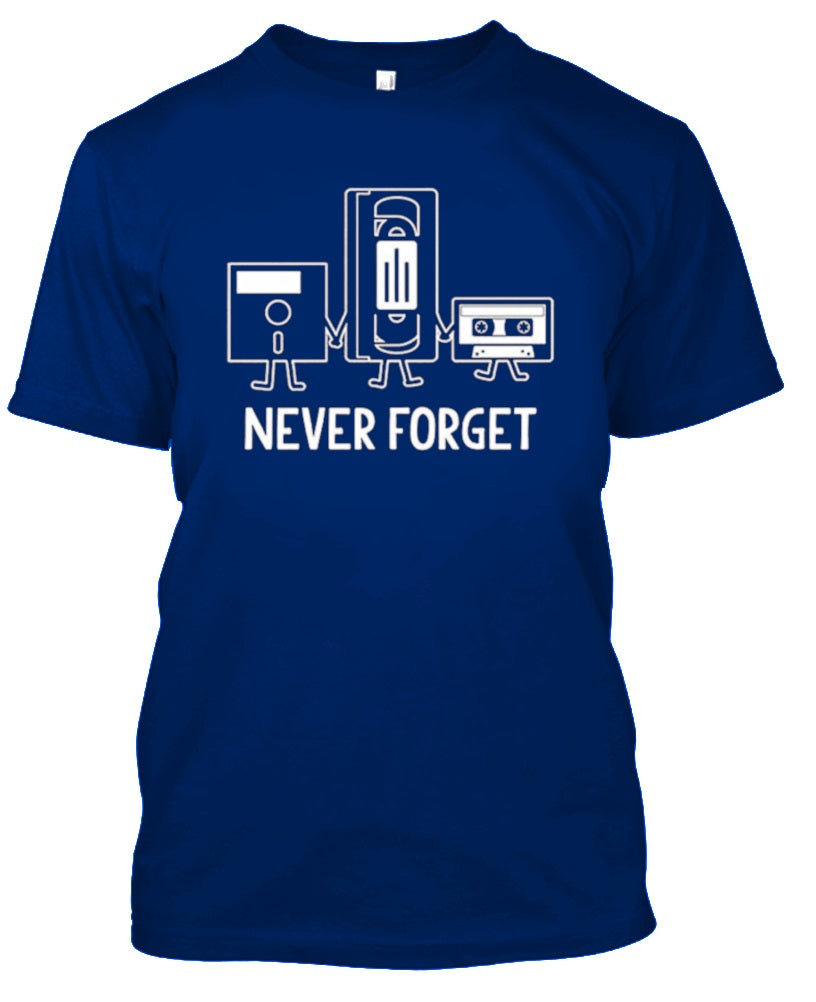 Ne jamais oublier Nostalgic Floppy Disk Cassette T-Shirt-Royal Blue-S-Daily Steals