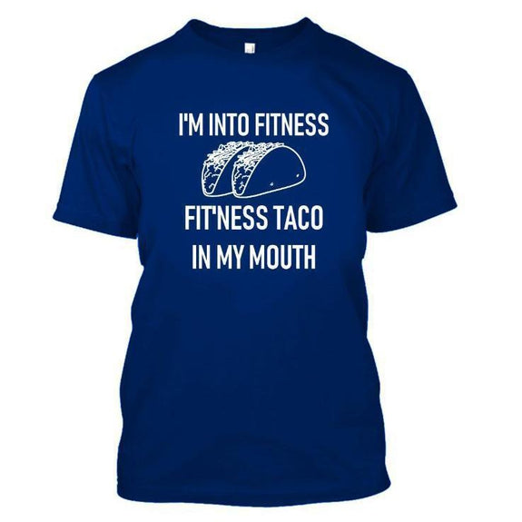 Daily Steals-I'm Into Fitness, Fit'ness Taco in My Mouth Tshirt-Men's Apparel-Royal Blue-S-
