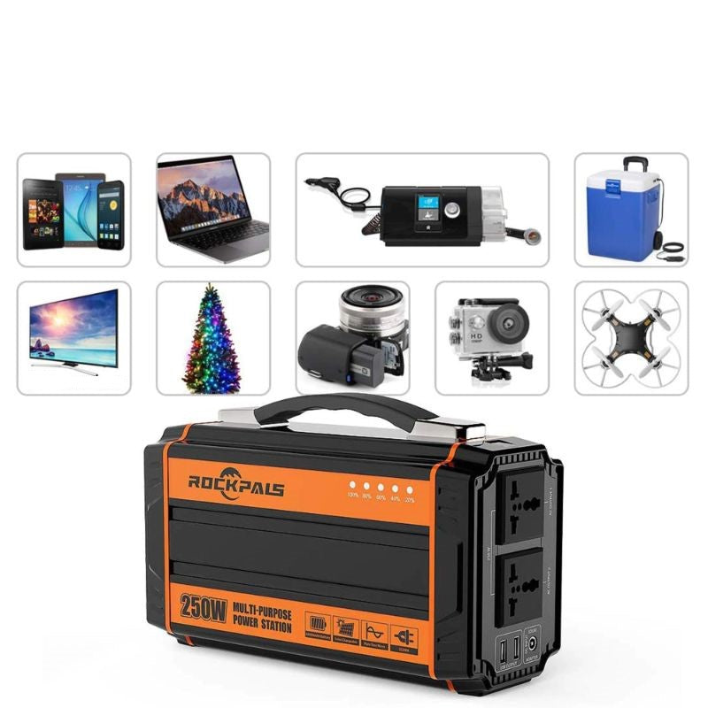 ROCKPALS 350W Portable Power Station QC 3.0 USB Type-C Port for Outdoor Camping Home Emergency Power Supply 288Wh Powered Generator Lithium Battery Pack Camping Generator with 110V AC Outlet