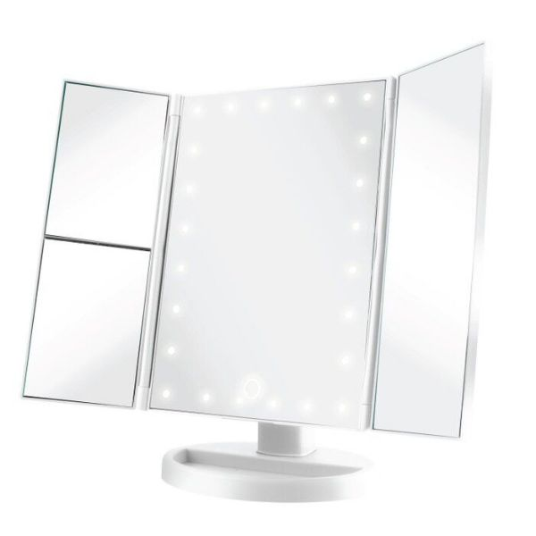 Vivitar Simply Beautiful 24 LED Light Up Trifold Mirror-White-Daily Steals