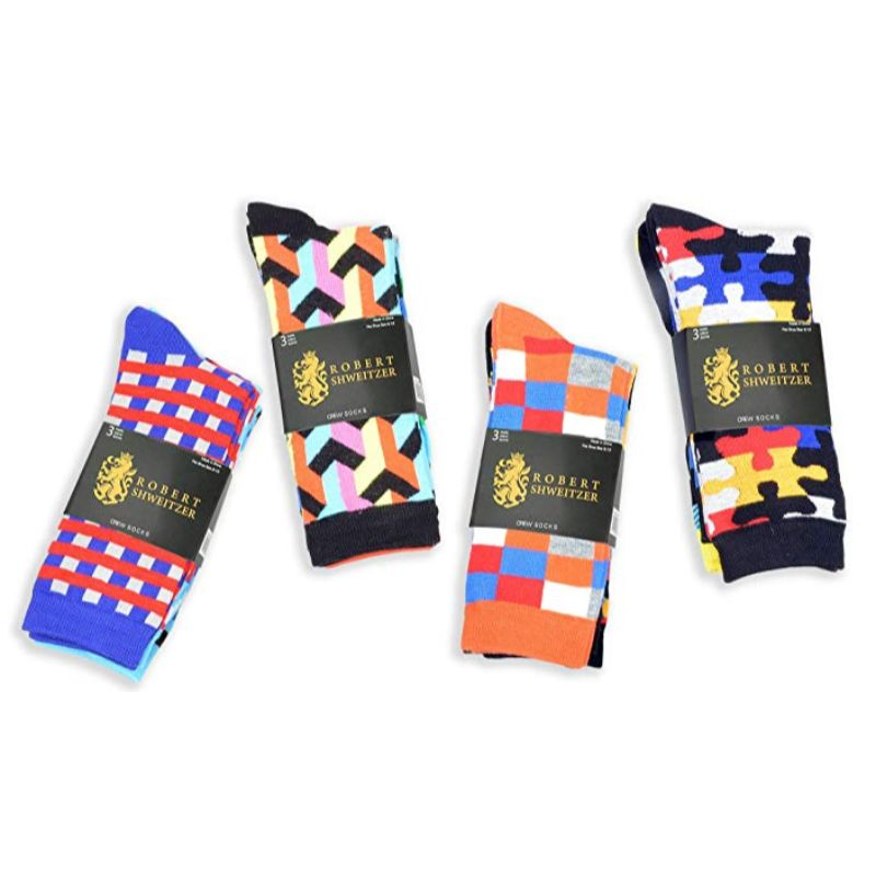 Robert Shweitzer Mens Fun and Colorful Patterned Dress Socks with Designs - 12 Pack-Daily Steals