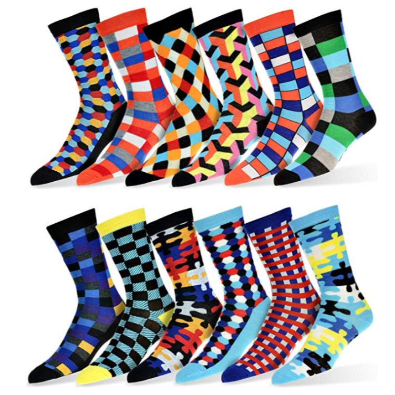 Robert Shweitzer Mens Fun and Colorful Patterned Dress Socks with Designs - 12 Pack-A-Daily Steals
