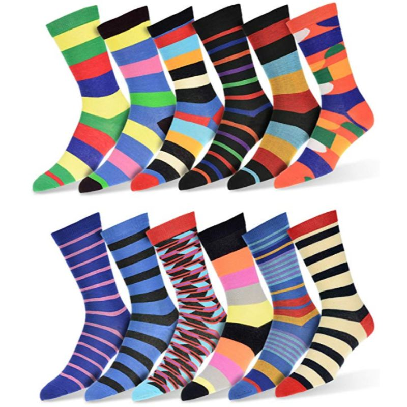Robert Shweitzer Mens Fun and Colorful Patterned Dress Socks with Designs - 12 Pack-B-Daily Steals