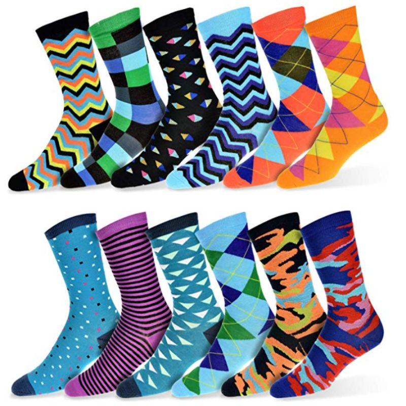 Robert Shweitzer Mens Fun and Colorful Patterned Dress Socks with Designs - 12 Pack-D-Daily Steals