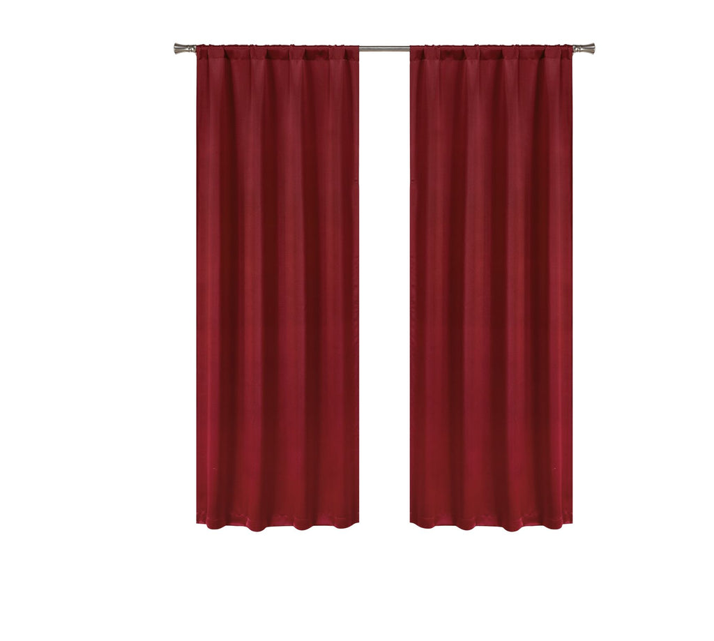 Solid Room-Darkening Double-Layered Window Panels (2-Pack)-Red Ruby-Daily Steals