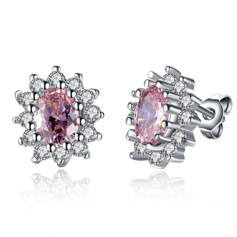 Pink Topaz Princess Diana Inspired Earring in 18K White Gold w/ Swarovski-Daily Steals
