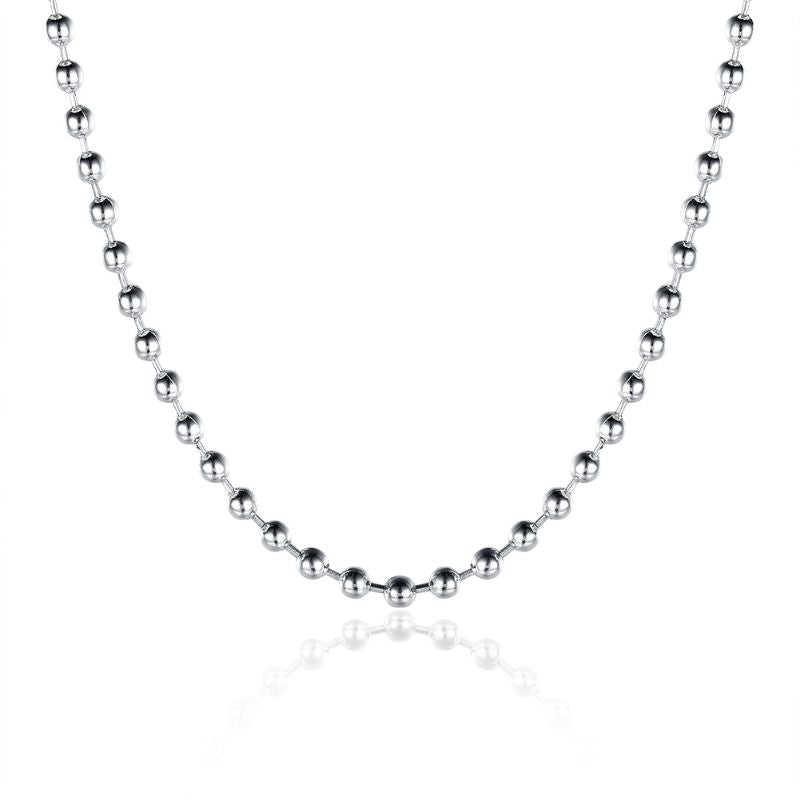 "2mm Bead Chain Necklace in 18K White Gold Filled-18""-Daily Steals"
