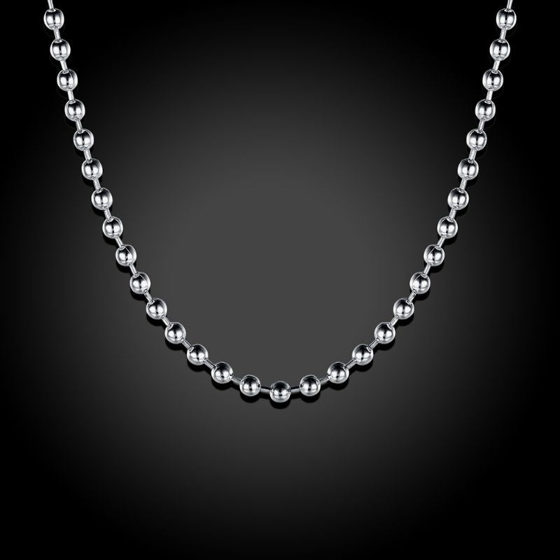 2mm Bead Chain Necklace in 18K White Gold Filled-Daily Steals