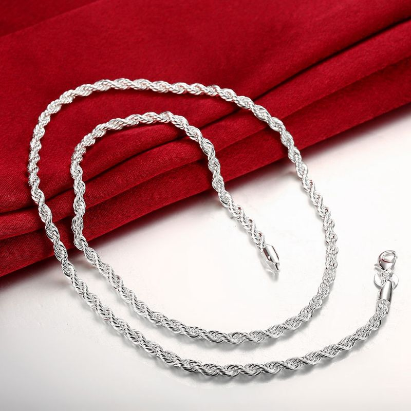 3mm Singapore Chain in 18K White Gold Filled-Daily Steals