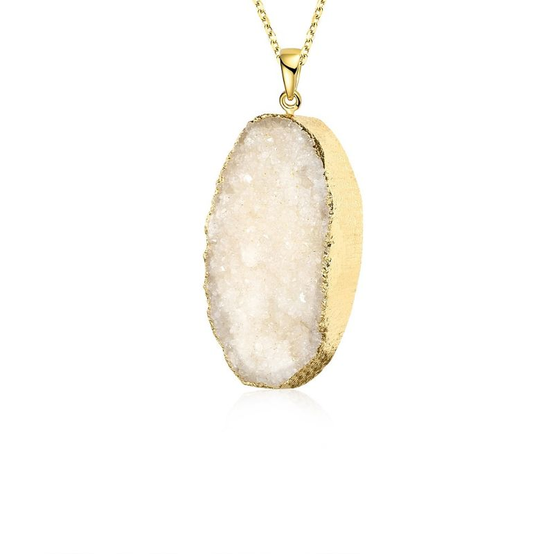 Cream Lab Created Gemstone Necklace in 18K Gold Filled-Daily Steals