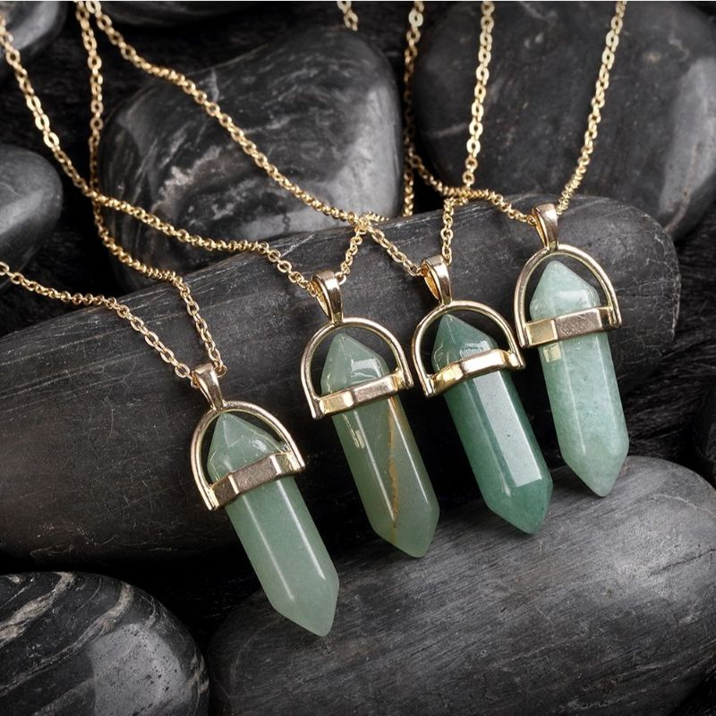 Opal Green Lab Created Gemstone Necklace in 18K Gold Filled-Daily Steals