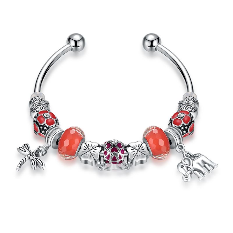 "Murano Glass Flower Charm Bracelet in 18K with Swarovski Crystals-7""-Orange Flower-Daily Steals"