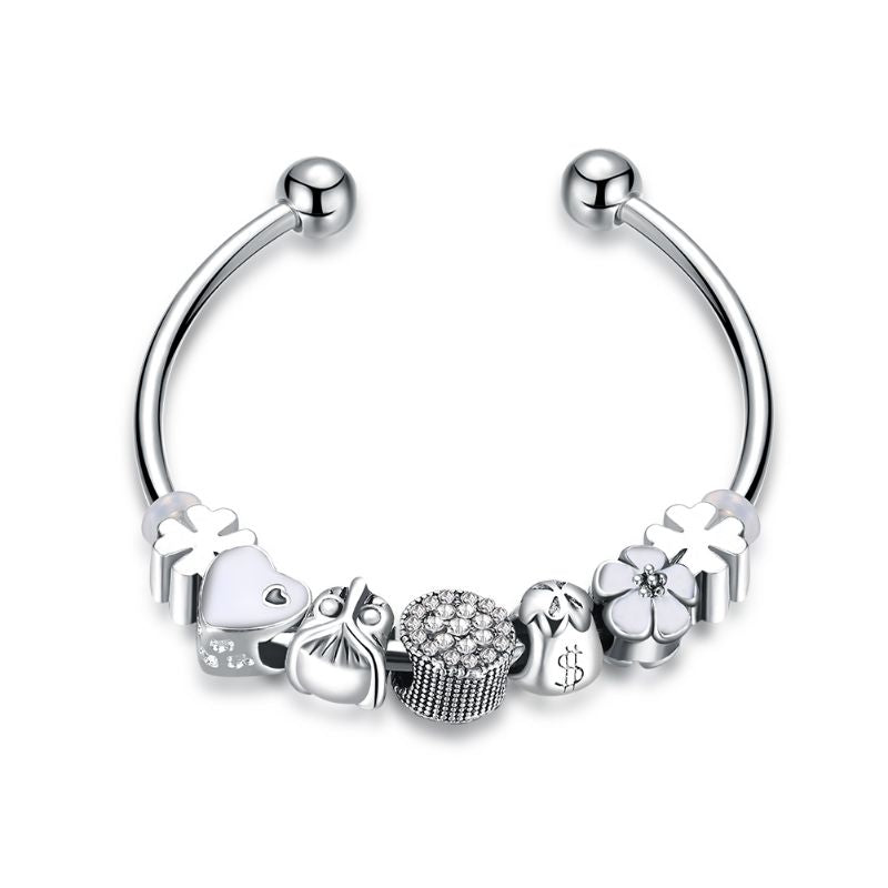 "Murano Glass Flower Charm Bracelet in 18K with Swarovski Crystals-6.5""-Flower Heart-Daily Steals"