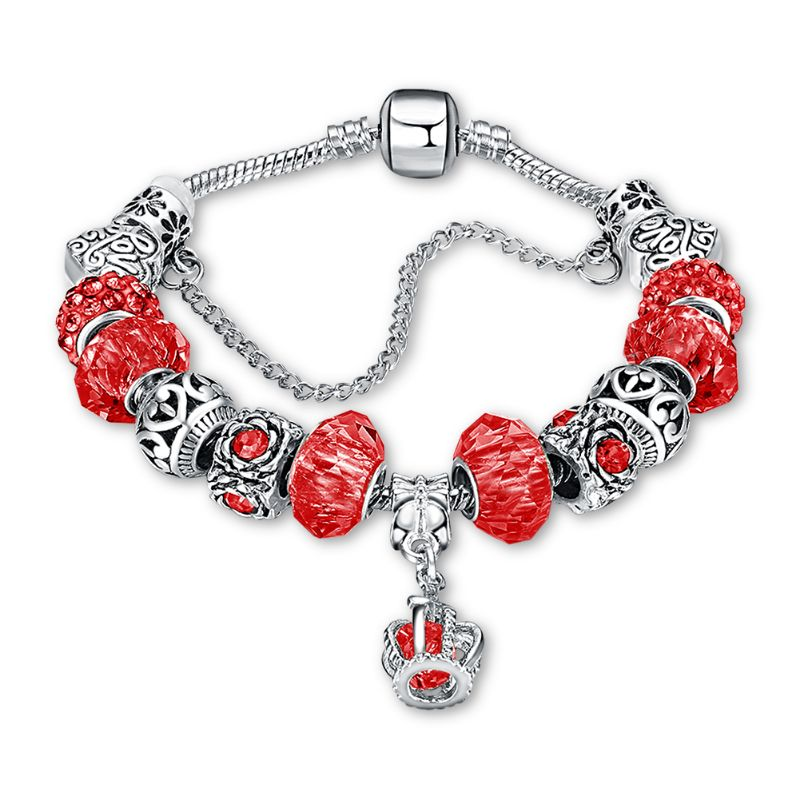 Murano Glass Flower Charm Bracelet in 18K with Swarovski Crystals-One Size-Red Crown-Daily Steals