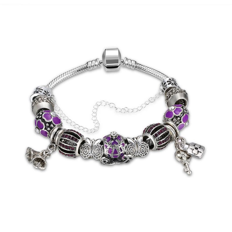 Murano Glass Flower Charm Bracelet in 18K with Swarovski Crystals-One Size-Purple Flower-Daily Steals