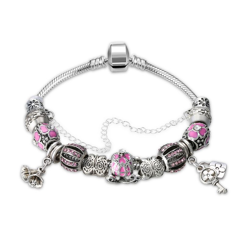 Murano Glass Flower Charm Bracelet in 18K with Swarovski Crystals-One Size-Pink Flower-Daily Steals