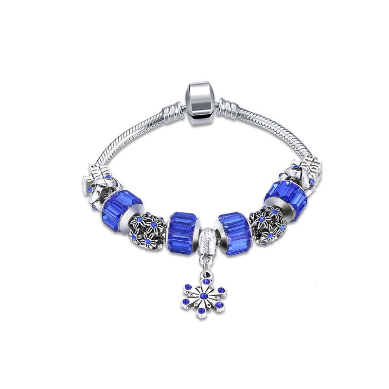 Murano Glass Flower Charm Bracelet in 18K with Swarovski Crystals-One Size-Royal Blue Flower-Daily Steals