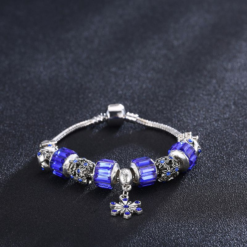 Murano Glass Flower Charm Bracelet in 18K with Swarovski Crystals-Daily Steals