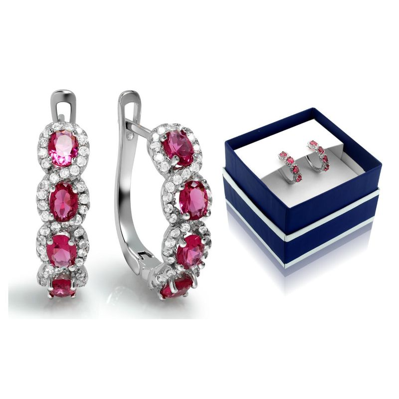 Created Ruby Gemstone Hoop Earrings in Sterling Silver-Daily Steals
