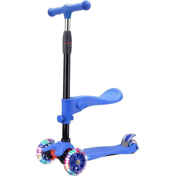 Rugged Racers 2-in-1 Kick Scooter w/ Removable Seat & LED Wheels-Blue-