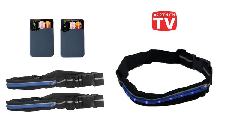 [2-Pack] As Seen On TV Go Belt LED Running Belt with 2 FREE Phone Pockets-Daily Steals