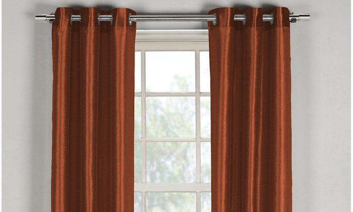 "Bali Faux Silk Grommet Window Panel Pairs-Rust Orange - 38"" x 84""-Daily Steals"