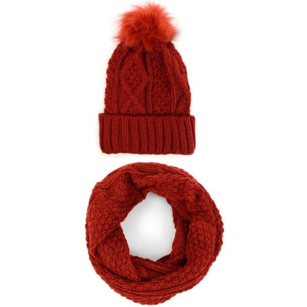 Ladies Knit Hat & Infinity Scarf Winter Set-Burgundy-Daily Steals