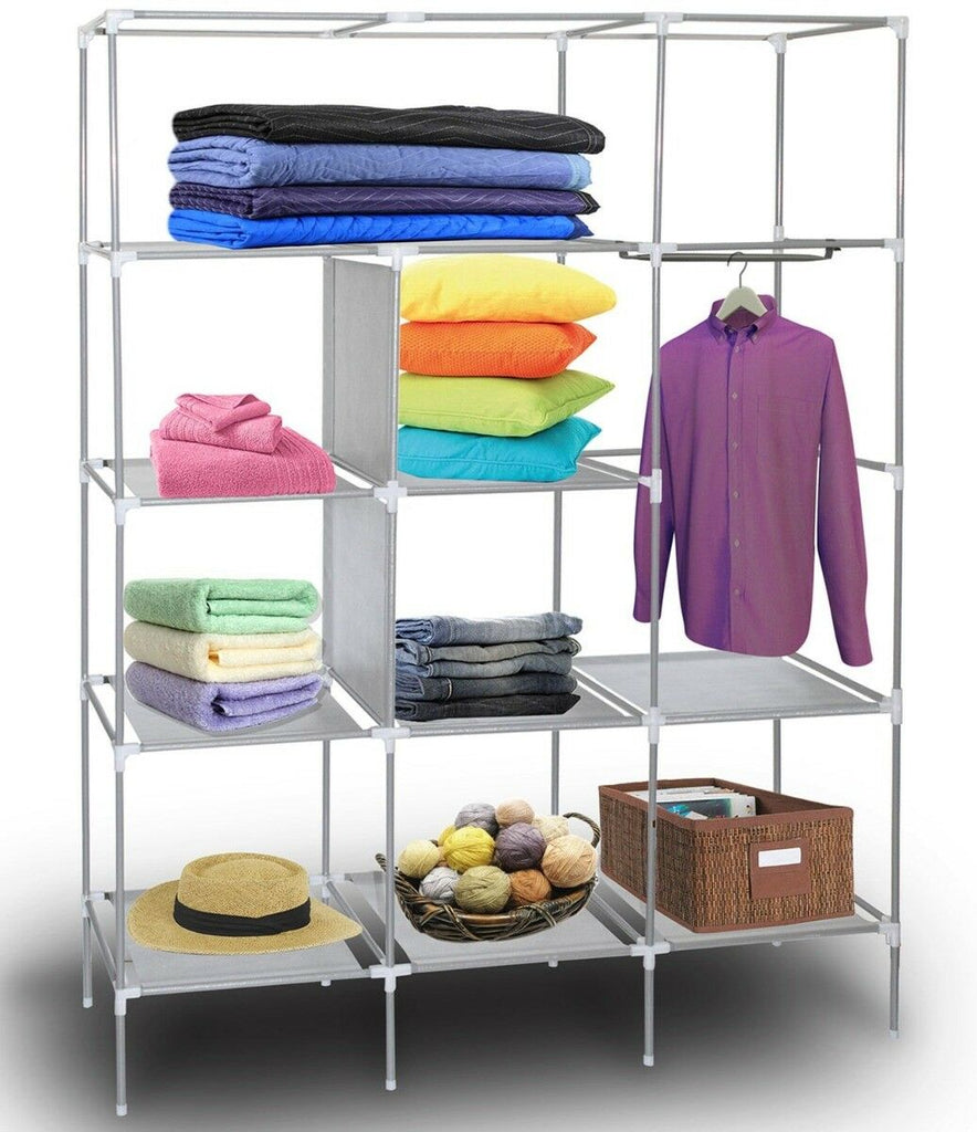Portable Wardrobe w/ Customizable Shelves, Shoe Storage and Removable Cover-Daily Steals