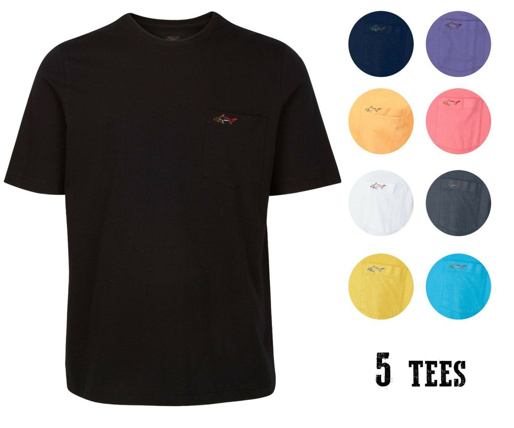 [5-Pack] Greg Norman Men's Pocket Tee - Assorted Styles-M-Daily Steals