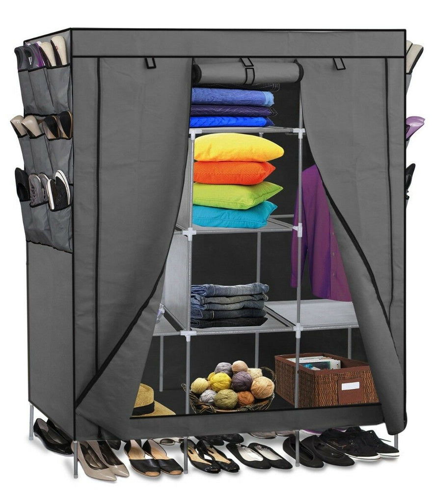 Portable Wardrobe w/ Customizable Shelves, Shoe Storage and Removable Cover-Gray-Daily Steals