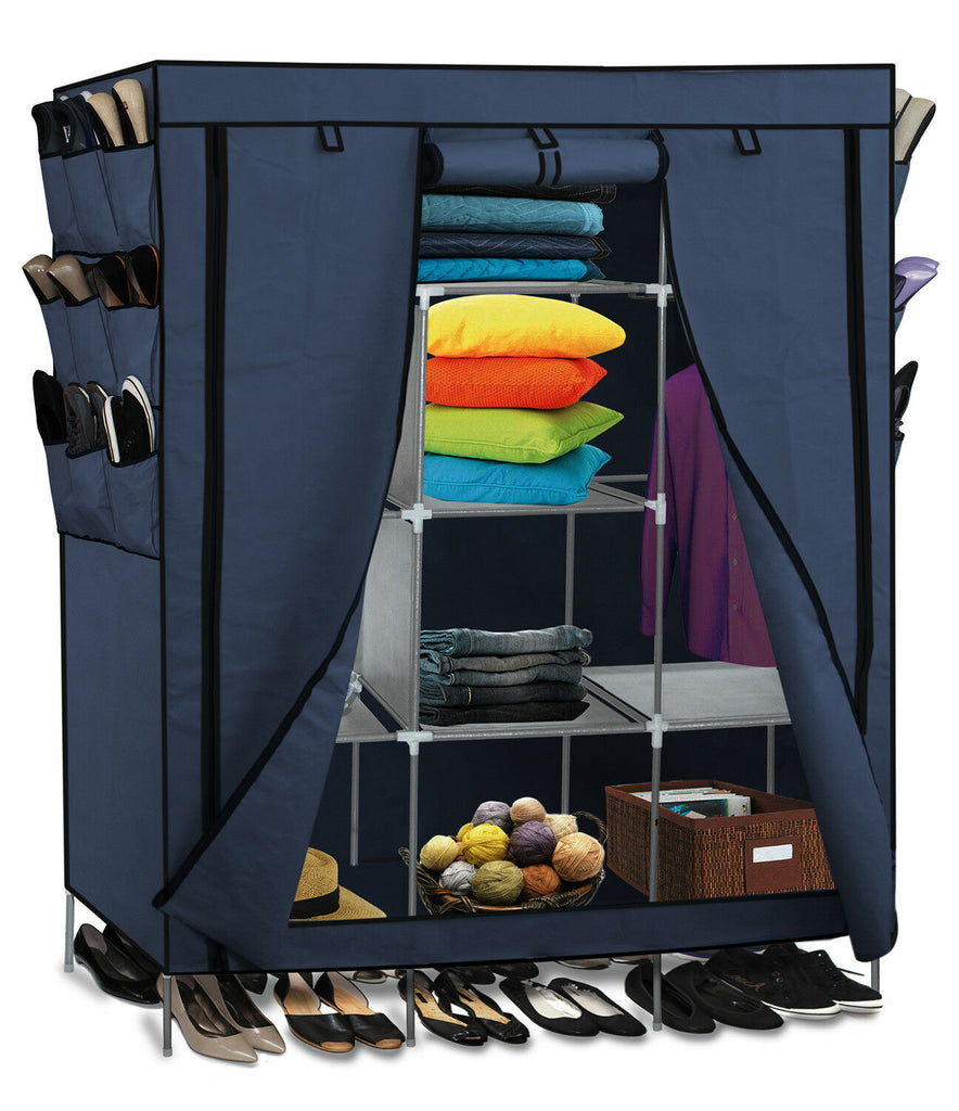 Portable Wardrobe w/ Customizable Shelves, Shoe Storage and Removable Cover-Blue-Daily Steals