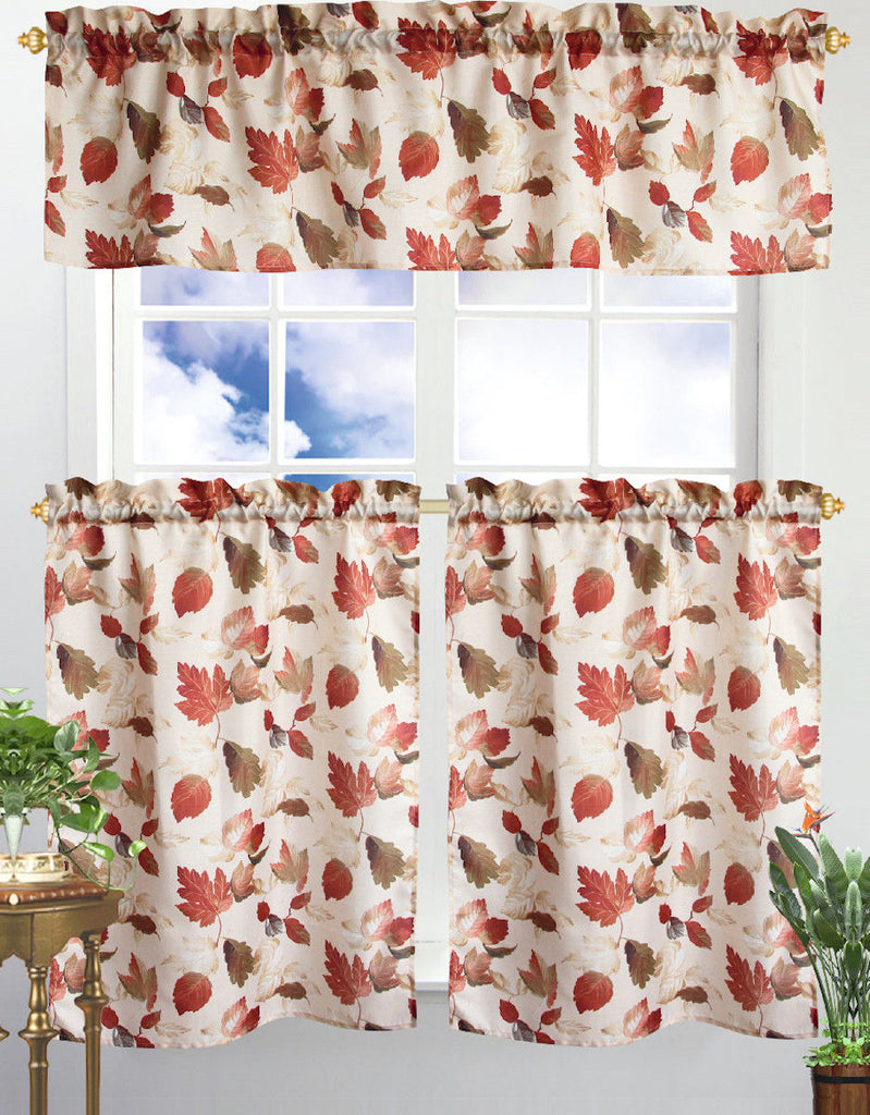 Kitchen Curtain & Valance by Chef's Collection - 3 Piece Set-Red Leaves-Daily Steals
