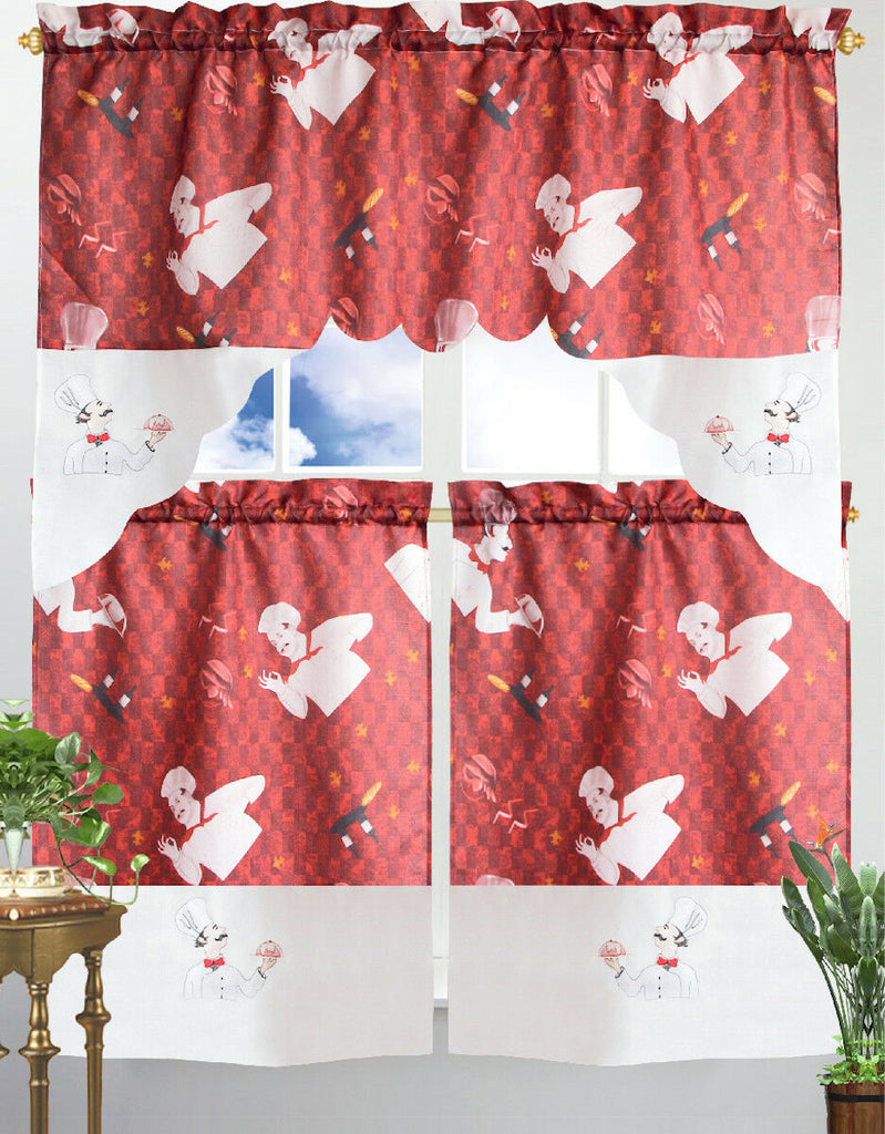 Kitchen Curtain & Valance by Chef's Collection - 3 Piece Set-Red Chef-Daily Steals