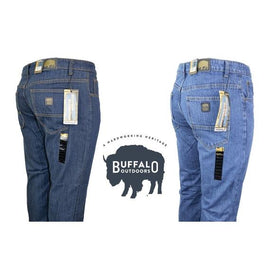 Daily Steals-Buffalo Outdoors™ Mens Straight Leg Comfort Jeans Basic Work Denim Pants-Mens Straight Leg Comfort Jeans Basic Work Denim Pants-