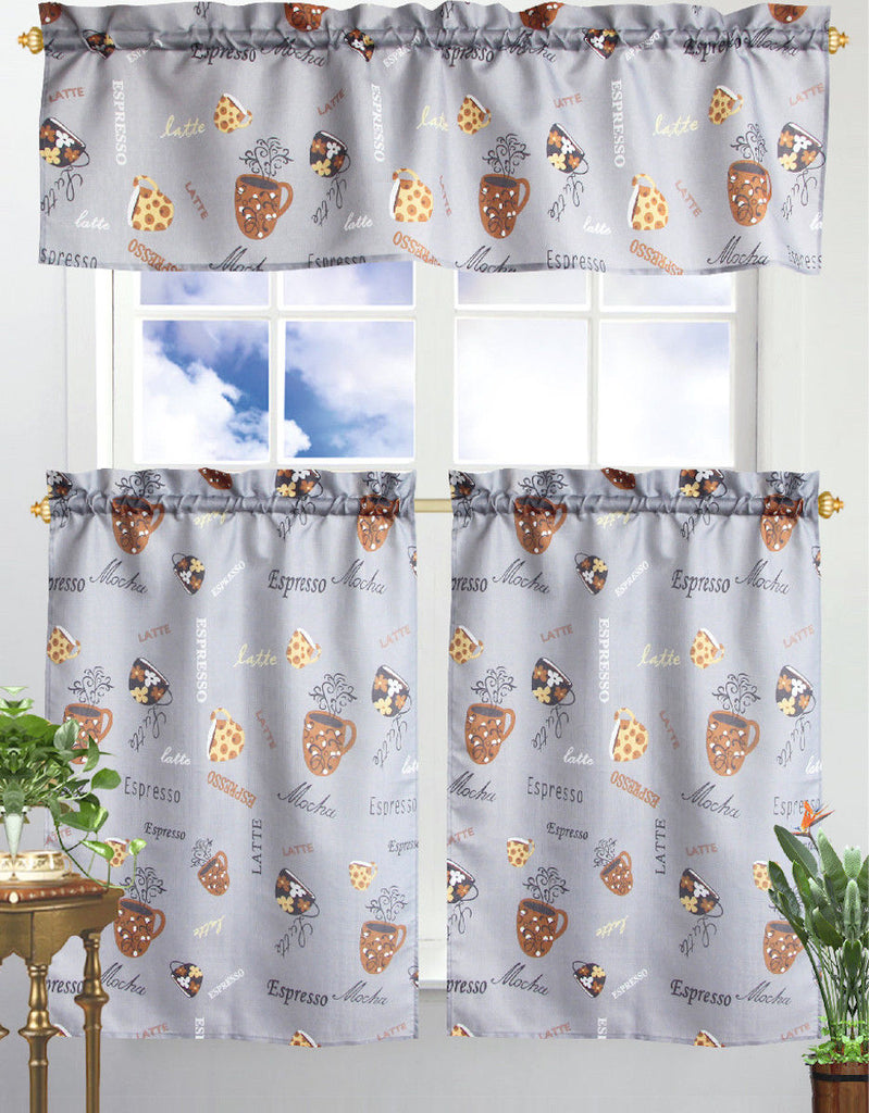 Kitchen Curtain & Valance by Chef's Collection - 3 Piece Set-Café Latte-Daily Steals