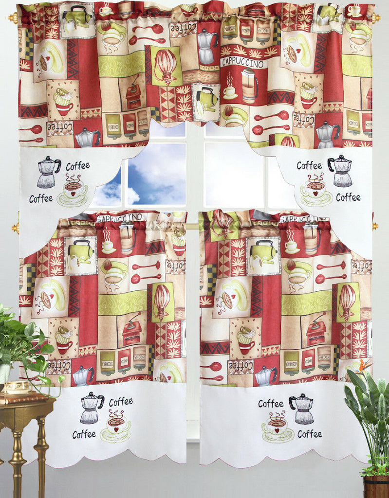 Kitchen Curtain & Valance by Chef's Collection - 3 Piece Set-Coffee-Daily Steals