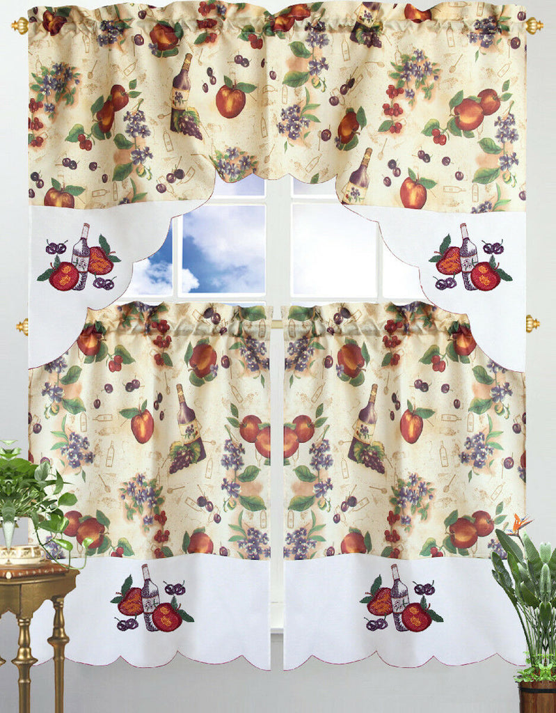 Kitchen Curtain & Valance by Chef's Collection - 3 Piece Set-Floral Wine-Daily Steals