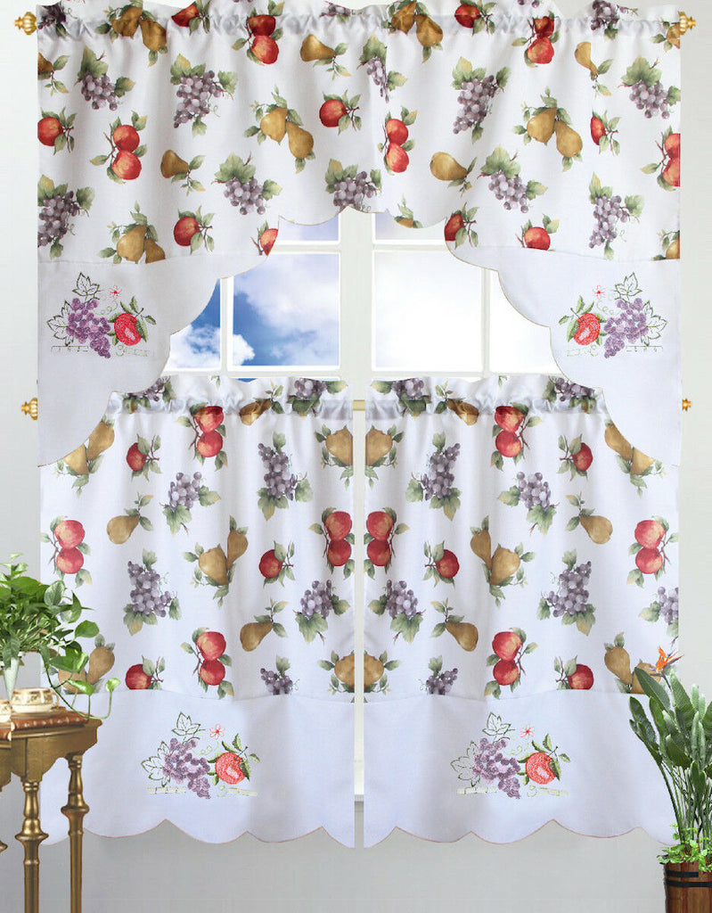 Kitchen Curtain & Valance by Chef's Collection - 3 Piece Set-Mix Fruits-Daily Steals