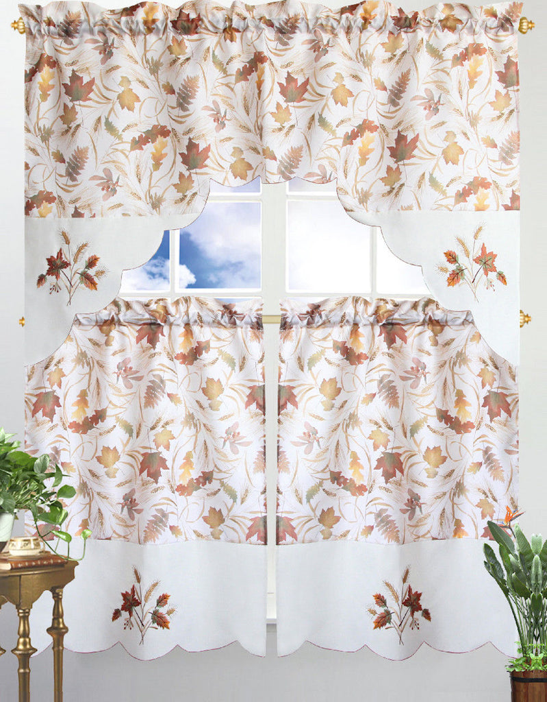 Kitchen Curtain & Valance by Chef's Collection - 3 Piece Set-Autumn Leaves-Daily Steals